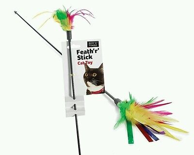 Feather Tickler Cat Toy | Cat Teaser | Feather Cat Toy Feather Stick Cat Toy x4