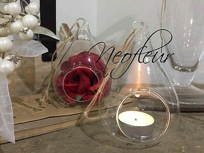 48  Clear Glass hanging teardrop pear bauble tealight candle holder. Christmas