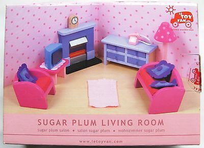 Le Toy Van Wooden Dolls House Furniture Sugar Plum Living Room - New As Image