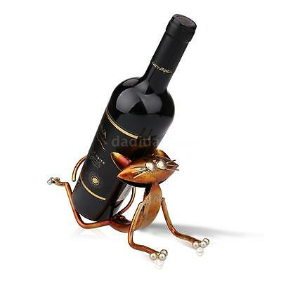 TOOARTS Crafts Wine Holder Shelf Metal Sculpture Yoga Cat Home Hotel Decor X3V3