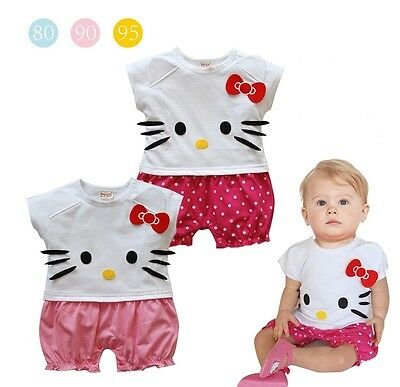 Hello Kitty Baby Girls Climbing Clothing Short Sleeve All-in-One Romper Bodysuit
