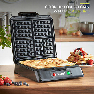 Waffle Maker Machine Iron 4 Slice Belgian Non Stick Baker Grill New Toastmaster