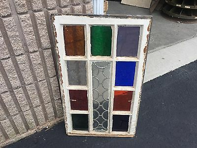 """Gorgeous antique c1880 Queen Anne STAIN glass window frame 32.5"""" X 19.5"""" - A"""