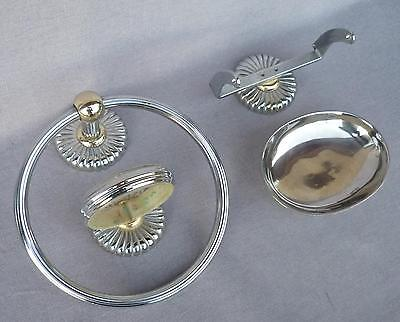 Vintage french bathroom set hook towel cup toilet paper soap holder 1970's metal