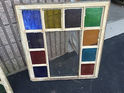 "Gorgeous antique c1880 Queen Anne window frame modified w/ stain glass 32"" X 30"""