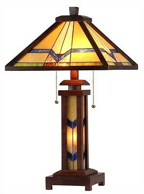 """CH33430WM15-DT3 Mission Tiffany Style Stained Glass 3-Light Table Lamp 15"""" Shade"""