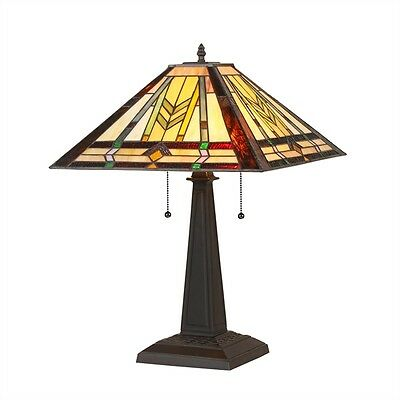 """CH35550MM16-TL2 Mission Tiffany Style Stained Glass 2-Light Table Lamp 16"""" Shade"""
