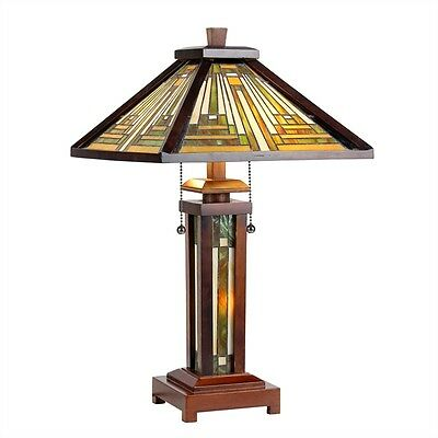 """CH33359WM15-DT3 Mission Tiffany Style Stained Glass 3-Light Table Lamp 15"""" Shade"""
