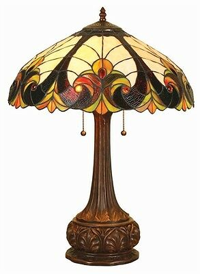 """CH18780VI18-TL2 Tiffany Style Stained Glass 2 Light table Lamp 18"""" Shade 24"""" H"""