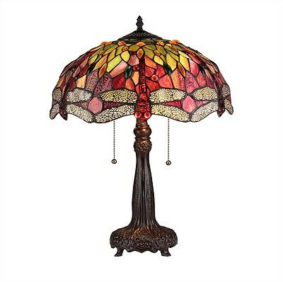 """CH33471RD16-TL2 EMPRESS Tiffany Style Stained Glass 2 Light Table Lamp 16"""" Shade"""