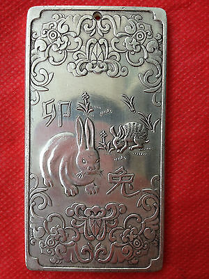 "Chinese Old ""12 Zodiac - Rabbit"" tibet Silver Bullion thanka amulet 136g NR"