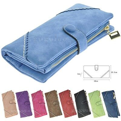 Fashion Leather Wallet Button Purse Lady Long Women's Handbag Black Blue Red
