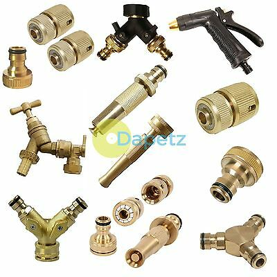 Outdoor Garden Tap Kit Brass Hose Connector Adaptor Fittings Spray Gun Nozzle