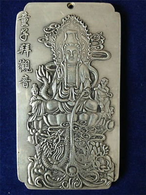 Chinese Old Boy worship Guanyin tibet Silver Bullion thanka amulet 135g