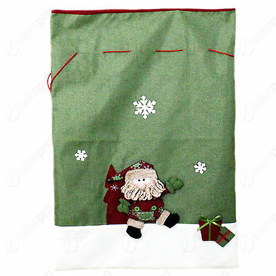 Plush Green Hessian Xmas Christmas Sack - Santa Motif - Kingfisher
