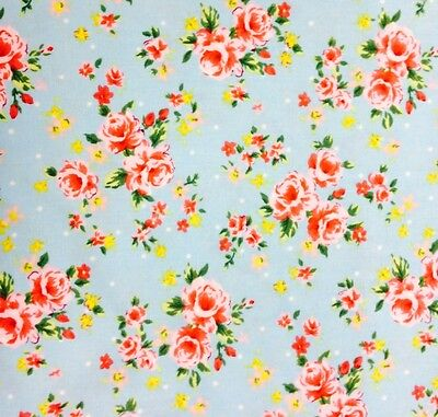 """100% Cotton Fabric 112cm/44"""" Wide. Rose Garden Blue, Quilting, Sewing. Floral."""