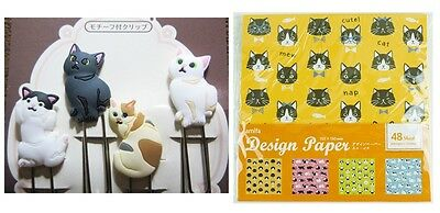 4 Catty CLIPS & 48 Sheets CRAFT PAPER catty,doggy design 4 color set  F/S