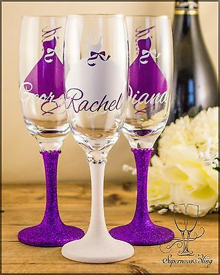 Personalised Glitter wedding champagne glasses bride bridesmaid dress bow name