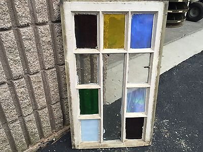 "Gorgeous antique c1880 Queen Anne STAIN glass window frame 28.75"" X 17""- #4"