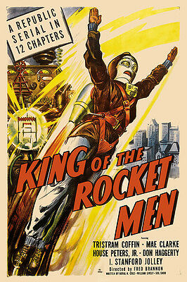 Vintage 1950s SciFi Poster King of the Rocket Men Print Wall Retro Dieselpunk