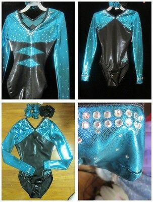 Alpha Factor Teal Black Diamond 3 Adult Sizes Crystals Gymnastics Foil Leotard