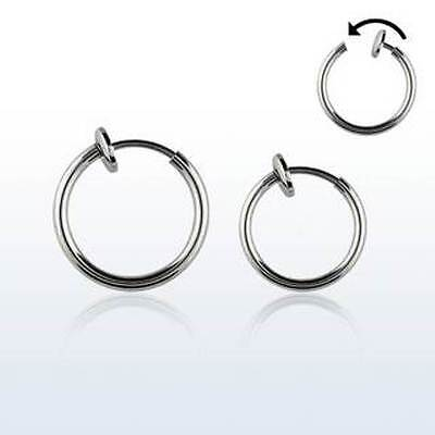 PAIR of 8, 10, 12 mm Spring Loaded FAKE Illusion Clip On Septum Ring Earrings