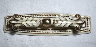 Vintage French Provincial Brass 2 Piece Drawer Handle/Pull Painted White & Gold