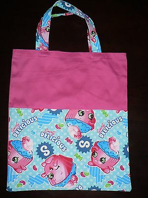 Handmade library bag with handle first name embroidered free(shopkins) print