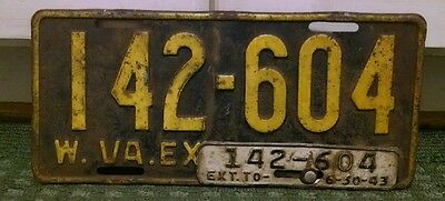 1942 - 1943 West Virginia License Plate With Original WW11 Tab