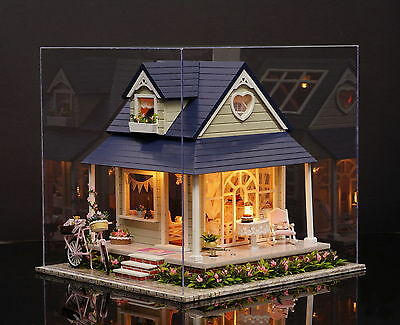 Kits Wood Dollhouse Miniature DIY House with Furniture+Cover Gift -Bicycle Angel