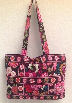 VERA BRADLEY Mod Floral Pink RETIRED Small Tic Tac Tote Pink Brown Toggle Purse