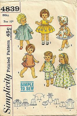 """SIMPLICITY #4839 - Circa 1960's 15"""" DOLL CLOTHES PATTERN"""