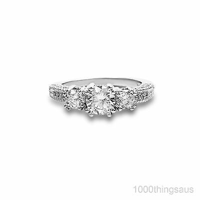 Elegant Stone Stamped White Gold Filled Simulated Silver Wedding Engagement Ring