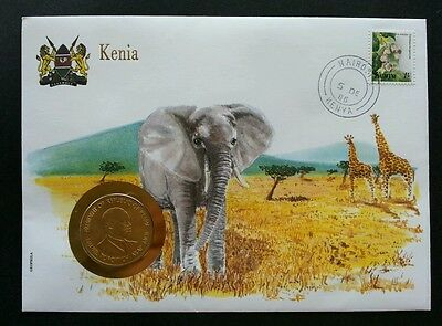 Kenya Wild Animal 1986 Africa Giraffe Elephant Wildlife FDC (coin cover)