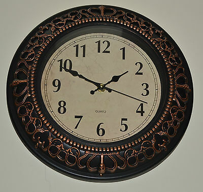 Antique Wall Clock Quartz Crown Scroll Traditional Home 30.5cm Ideal For Gift
