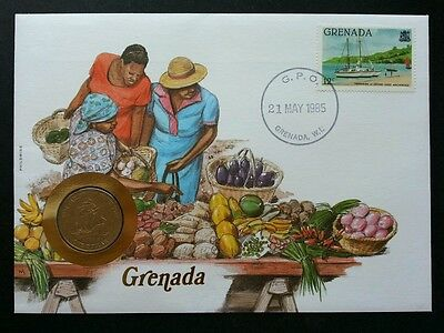 Grenada Market 1985 Fruit Vegetables Ship Transport Vehicle FDC (coin cover)