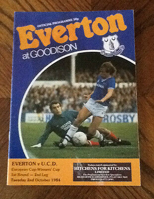Everton V Ucd Cup Winners Cup 2/10/1984