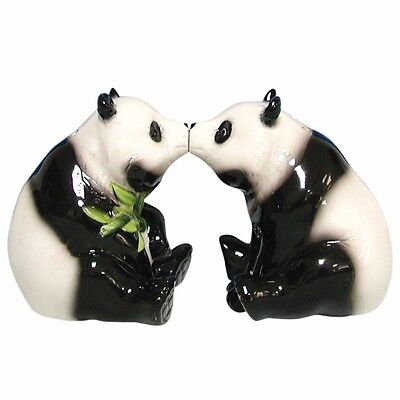 Ceramic Kissing Pandas Magnetic Salt And Pepper Shakers - From Westland Giftware