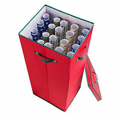 Elf Stor Premium Christmas Wrapping Paper Storage Box with Lid Red w/ Green Trim