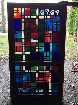 Architectural Stained Glass Windows (set of 2) Signed 1963
