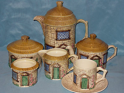 Full 7 Piece Vintage Sylvac Cottage Ware Table Set Perfect Condition Full Backst
