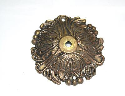 Vintage Large Round Reticulated Dark Brass Drawer Knob Pull Back Plate 3.5""