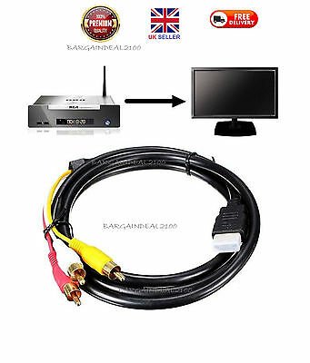 1.5m HDMI Male to 3 RCA Video Audio Converter Component AV Adapter Cable HDTV UK