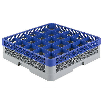 NEW 25-Compartment Full-Size Plastic Glass Rack with Blue Extender 274RK251