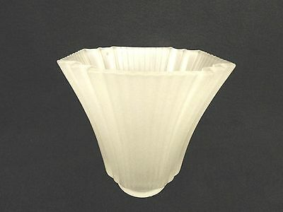 "2-1/4"" Fitter White Square Ribbed Casablanca Mission Glass Shade Sconce Fan"