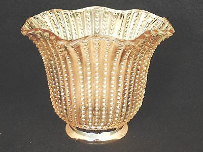 "2-1/4"" Fitter Vintage Retro Hobnail Art Deco Amber Glass Shade Fan Sconce Lamp"