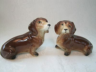 Vntg. Porcelain Dachshund Dog Salt & Pepper Shakers-Pair Figurines - JAPAN