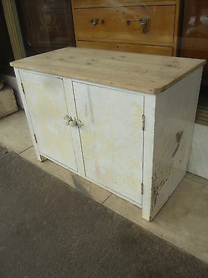 1950's Vintage Painted Cupboard With  A Pine Top And Interior Shelves