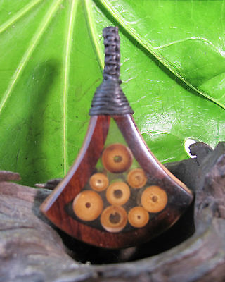 Wood & Bamboo Pendant Tribal Natural Jewelry womens/mens Handmade Charm Necklace