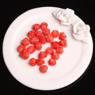 9-10mm Natural Red Coral Engraving Flower Shape Gem Loose Beads 25Pcs